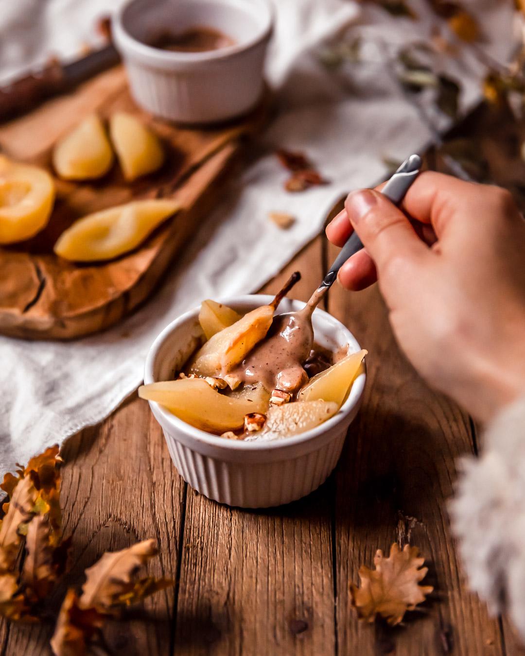 Crème noisette et poires vapeur