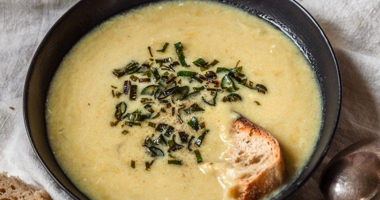 Potage Parmentier (soupe poireaux et pdt)