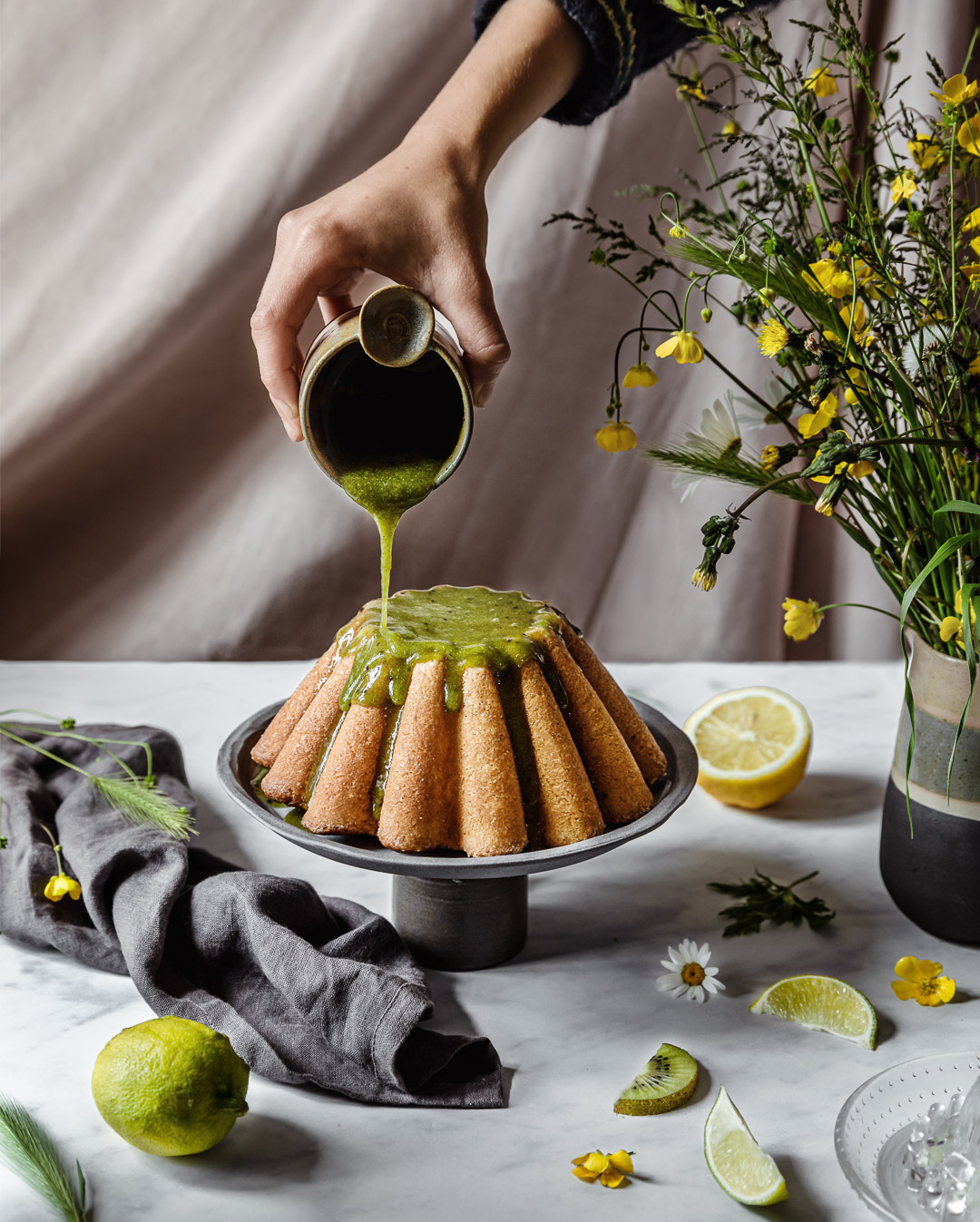 Gâteau kiwi, citron et citron vert sans gluten