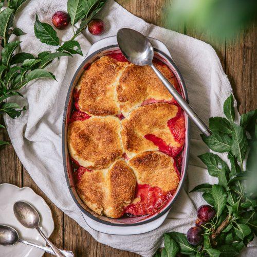 cobbler sans gluten aux prunes et abricots vegan