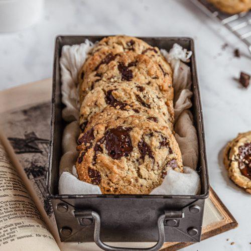 cookies tahini chocolat - recette vegan