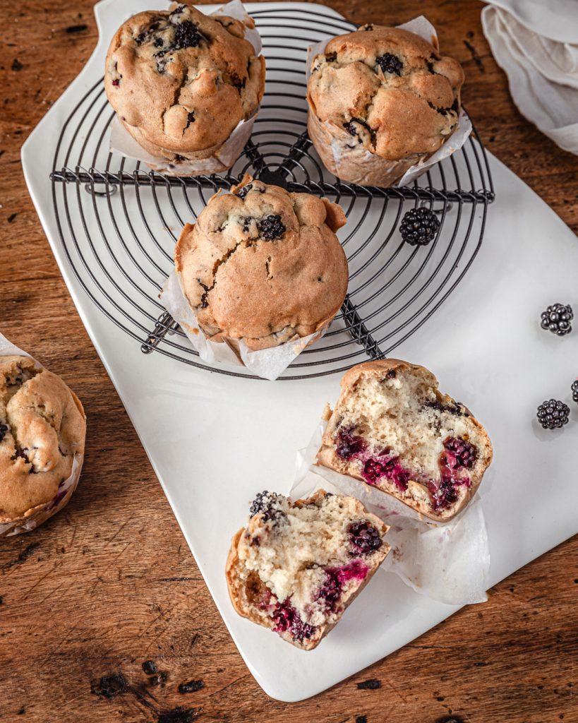 muffins vegan aux mûres - recette
