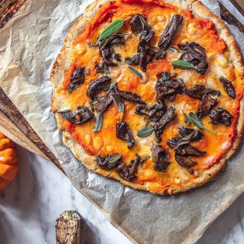 pizza courge-cèpes sans gluten vegan