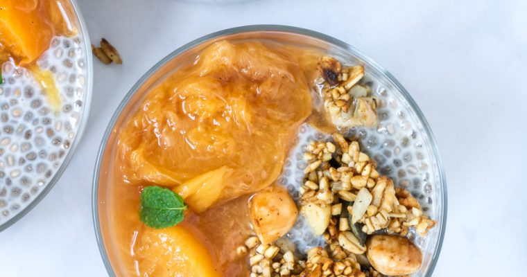 Healthy Stewed Peaches & Chia Pudding