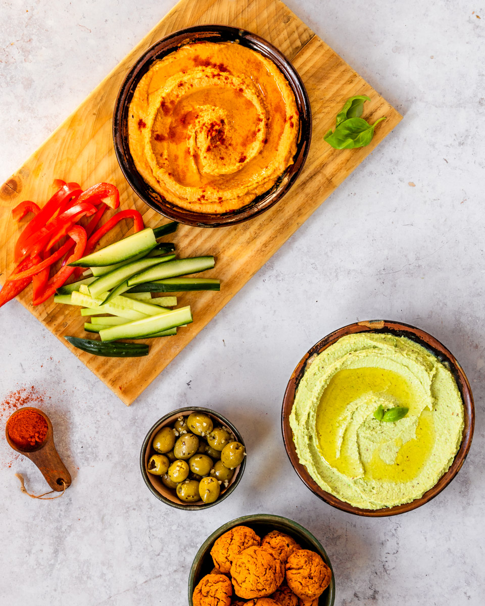 Green and Red Hummus (2 recipes)