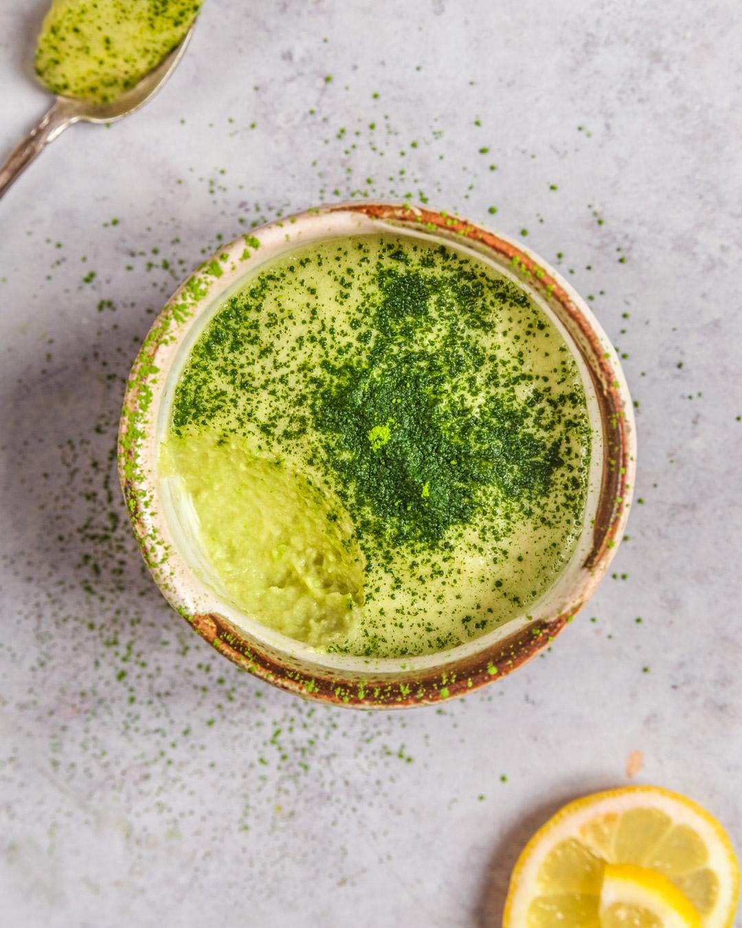 Zucchini, Lemon and Matcha Mousse