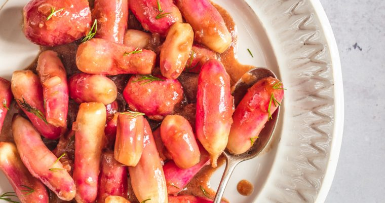 Miso glazed radishes